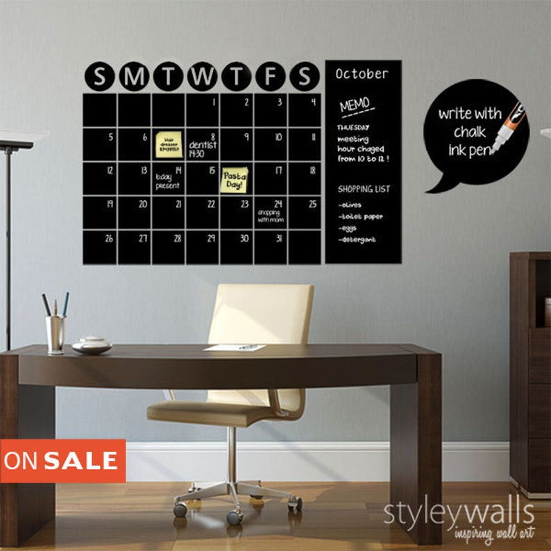 chalkboard calendar decals chalk board wall calendar vinyl | etsy