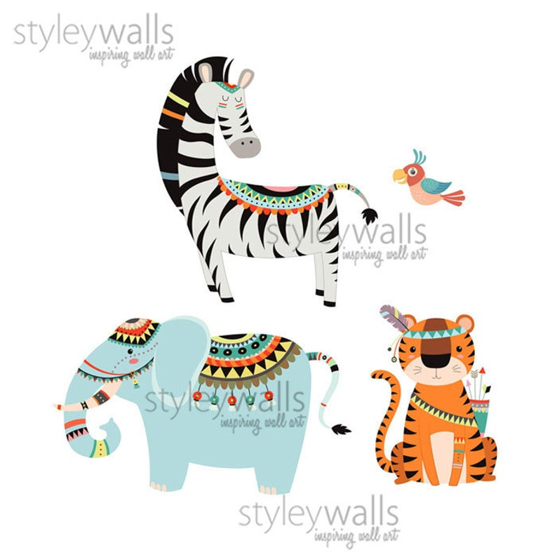 Jungle Wall Decal Tribal Animals Wall Decal Safari Animals Wall Sticker Safari Wall Decal Monkey Giraffe Lion Elephant Nursery Decor