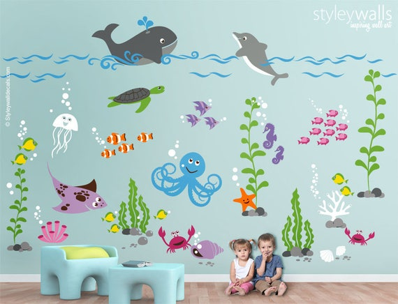 Underwater Wall Decal Ocean Wall Decal Aquarium Wall Decal Etsy