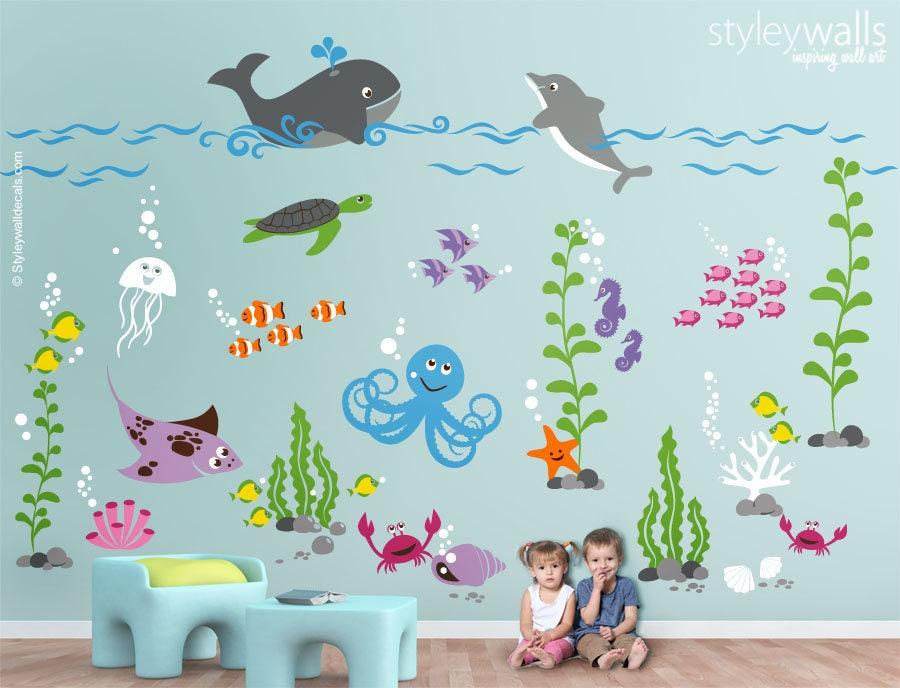 Underwater Wall Decal Ocean Wall Decal Aquarium Wall Decal Etsy