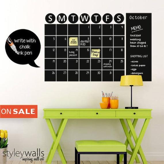 chalk board wall calendar vinyl wall decal chalkboard decals | etsy