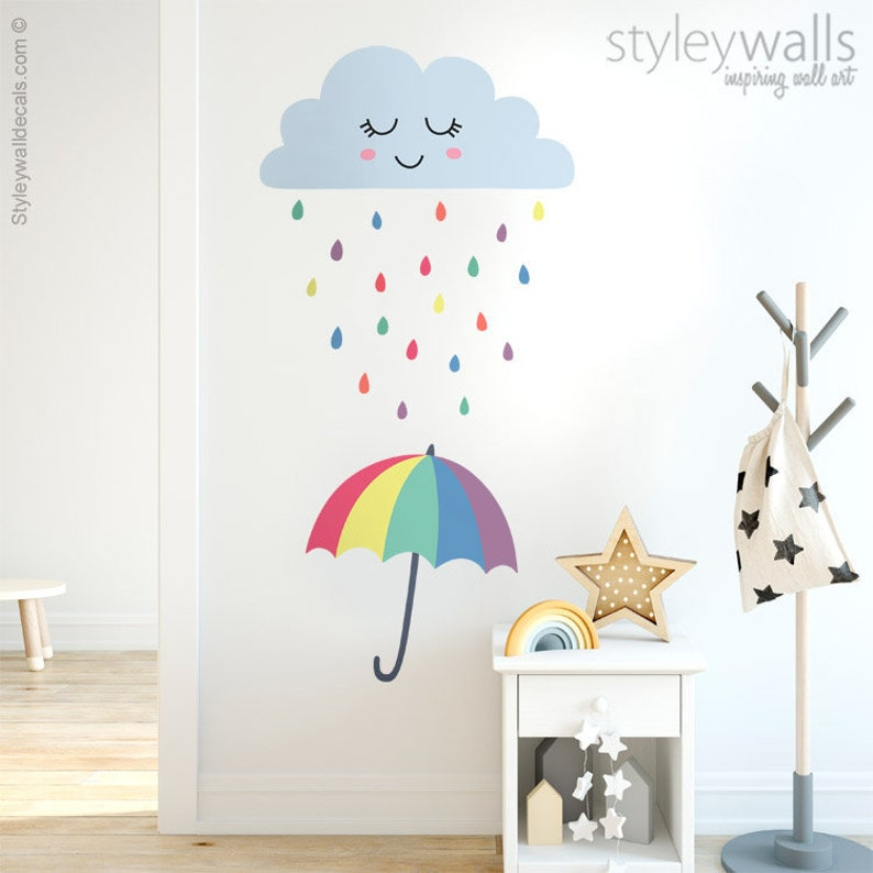 cloud wall decal raindrops wall decal weather wall decal | etsy