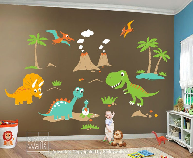 dinosaurs wall decal dinosaurs wall sticker dinosaurs roo | etsy