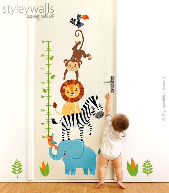 Jungle Animals Wall Decal Jungle Animals Growth Chart Safari Etsy