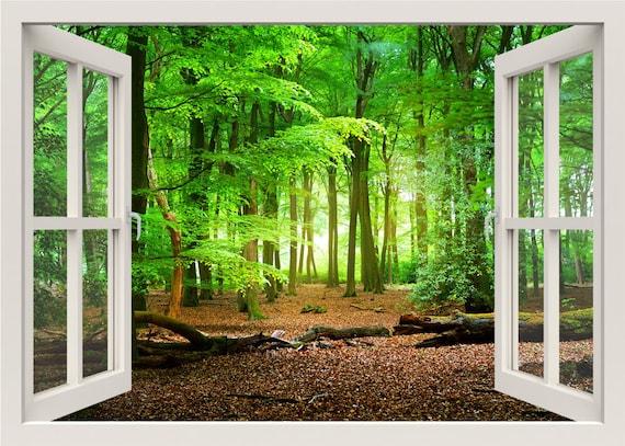 Wald Wandtattoo 3d Fenster Fenster Rahmen Natur Wandtattoo Etsy