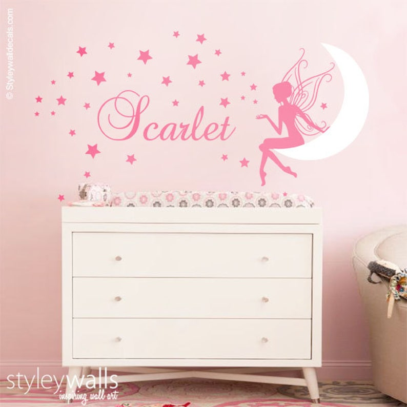 fairy wall decal baby girl room nursery sticker personalized | etsy
