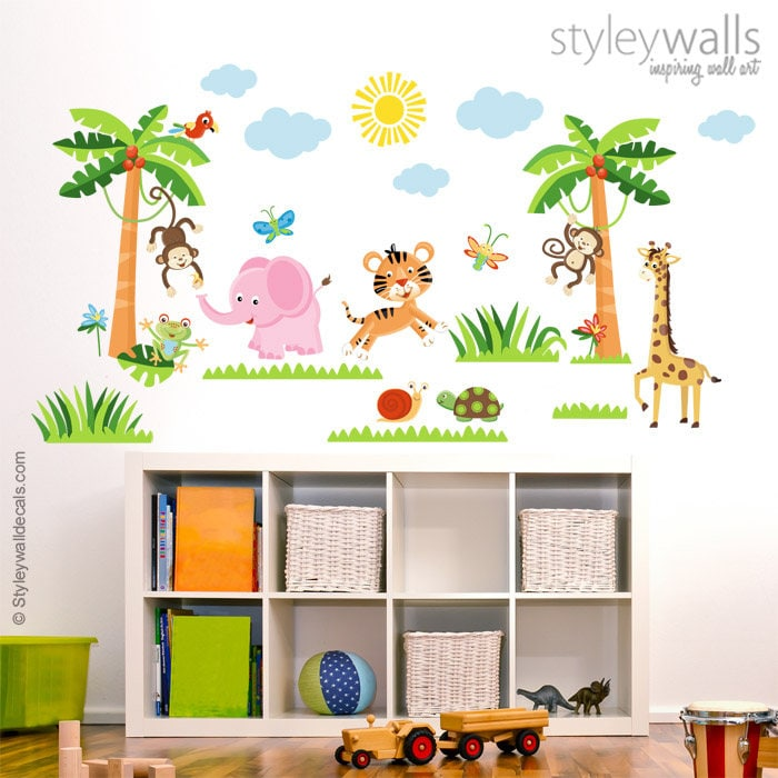 Jungle Animals Wall Decal Rain Forest Wall Decals Safari Etsy