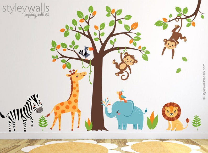 9029cbe443e3 Jungle Wall Decal Safari Wall Decal Jungle Animals Wall