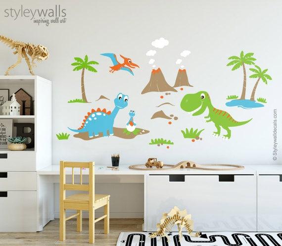 Dinosaurier Wandtattoo Dinosaurier Wand Aufkleber Fur Kinder Etsy