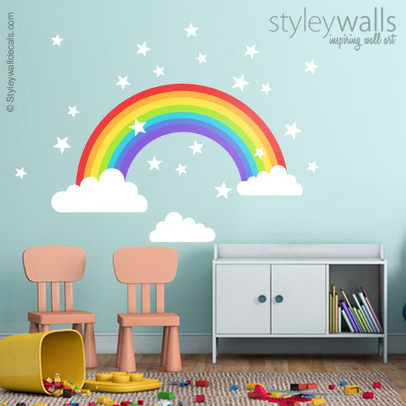 rainbow wall decal rainbow wall sticker clouds wall decal | etsy