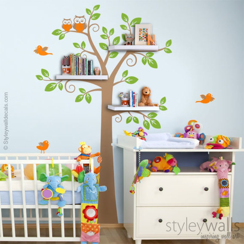 Shelves Tree Decal Children Wall Decal Shelf Tree Wall Decal image 0