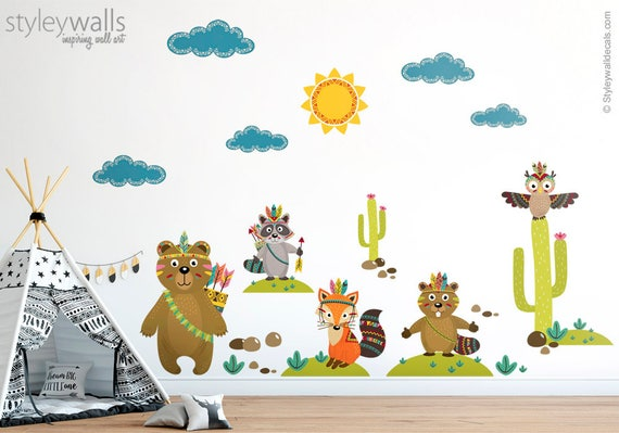 image 0 Woodland Animals Wall Decal Tribal Forest | Etsy