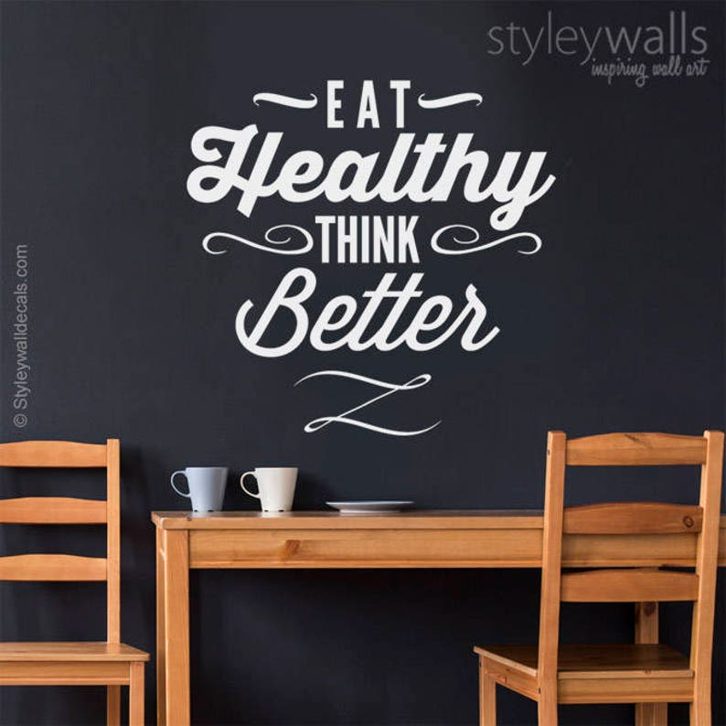 eat healthy think better wall quote wall decal kitchen vinyl | etsy