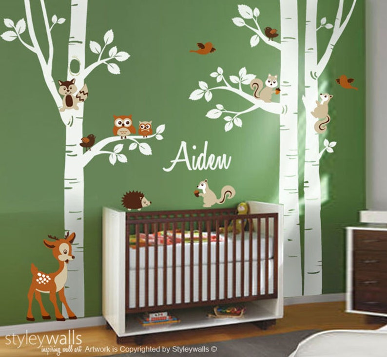 Wald Tiere Birke Bäume Wandtattoo für Kinderzimmer, Wandtattoo Waldtieren,  Wald Tiere Wandtattoo, Baby-Raum-Aufkleber, Eule Reh Aufkleber