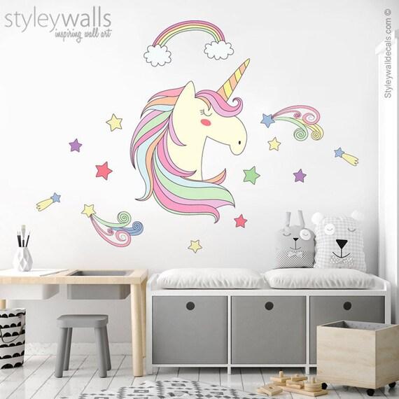 unicorn wall decal rainbow wall decal stars wall decal | etsy