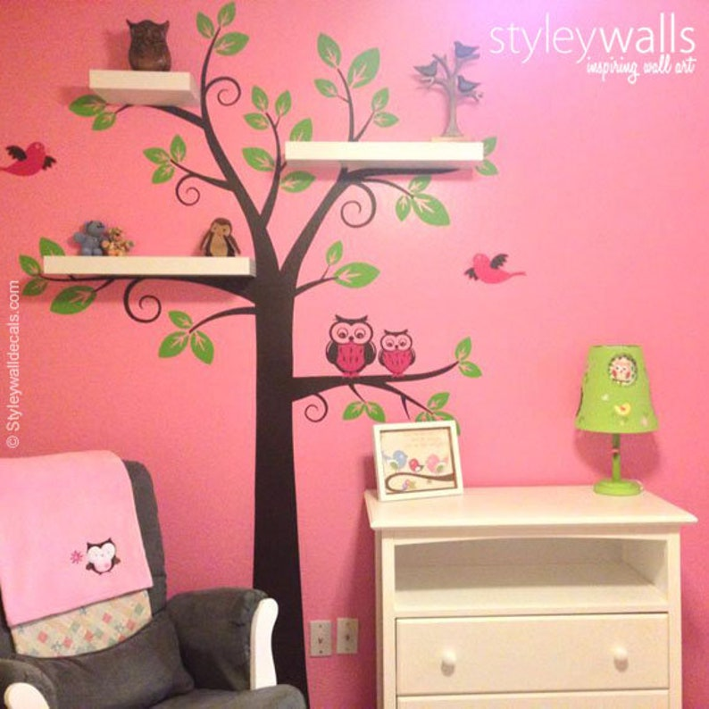 Eulen Baum Wandtattoo Regale Baum Wand Aufkleber Kinderzimmer   Etsy