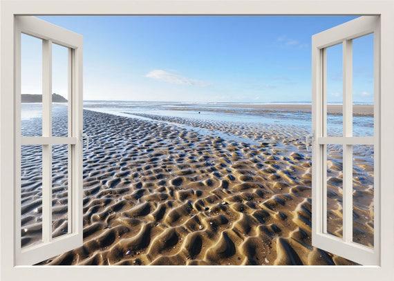 Strand Wandtattoo 3d Fenster Wandtattoo Sand Wind Wellen Etsy