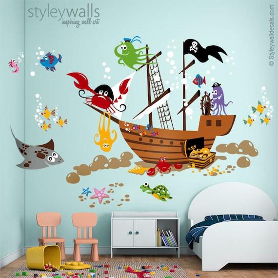 Unterwasser wandtattoo ozean wandtattoo wandtattoo piraten for Piraten wandtattoo kinderzimmer