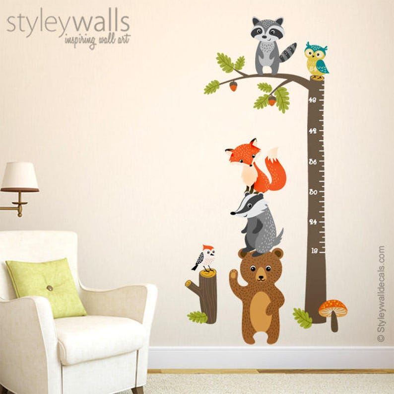 woodland animals growth chart wall decal forest animals etsy. Black Bedroom Furniture Sets. Home Design Ideas