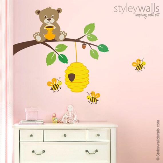 Bear Wall Decal Bear Wall Sticker Bees Wall Decal Bear And Etsy