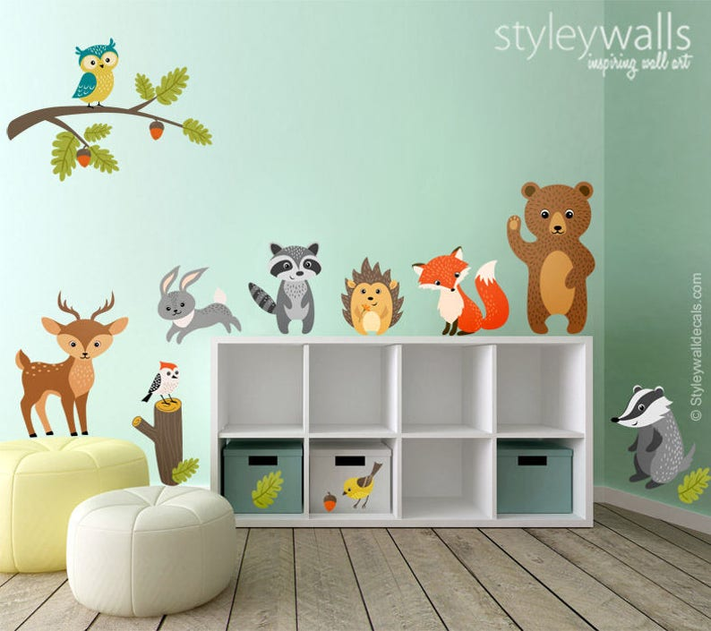 woodland animals wall decal forest animals wall decal | etsy