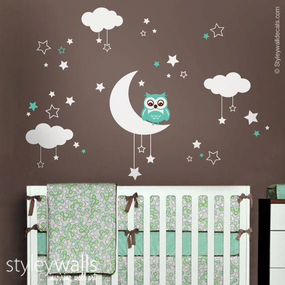 owl wall decal owl moon stars and clouds wall decal moon   etsy