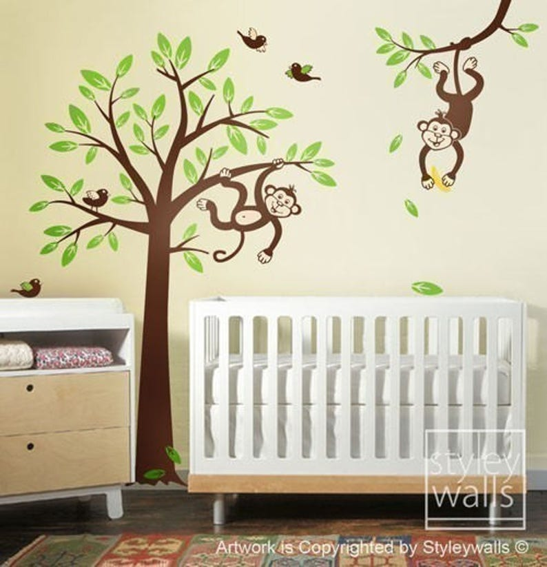 monkey tree wall decal 2 monkeys swinging from branch and | etsy
