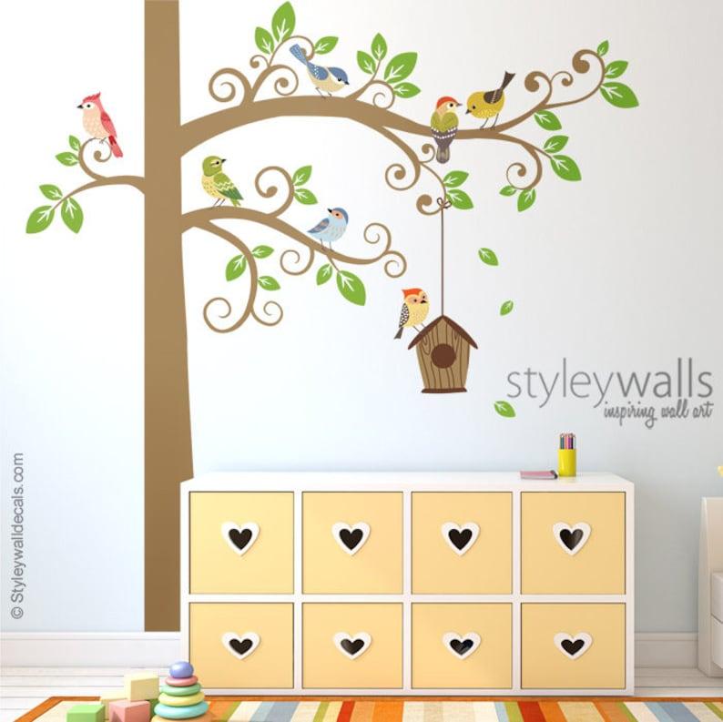 Vögel Wand-Aufkleber, Wandtattoo Baum, Baum und Vögel Wandtattoo Aufkleber,  Vogel Haus Wand Aufkleber, Vögel Kinderzimmer Dekor, Baby Zimmer Kinder ...