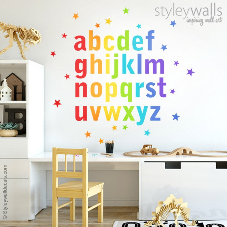 alphabet wall decal alphabet wall sticker letters wall | etsy