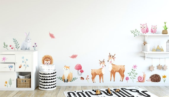 woodland animals wall decal forest animals wall decal forest | etsy