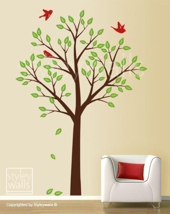 Baum und Vögel Wandtattoo, Baum Wandtattoo, Kinder Kinderzimmer Zimmer  Dekor Wandkunst, Baum-Wand-Aufkleber, Kindergarten Baum Aufkleber, ...