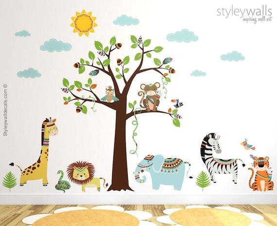 Stammes Tiere Wand Aufkleber Wandtattoo Dschungel Safari Etsy