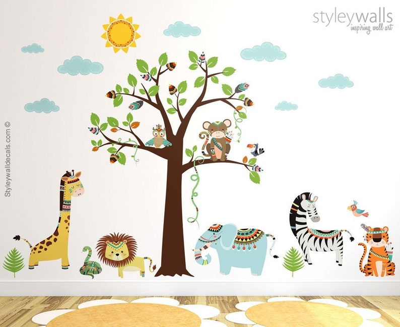 481056697fa1 Tribal Animals Wall Decal Jungle Wall Decal Safari Wall