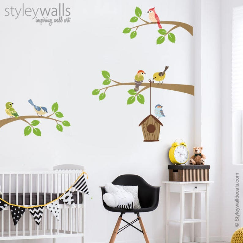 Vögel Wand-Aufkleber, Wandtattoo Zweig, Ast und Vögel Wandtattoo, Vogel  Haus Wand Aufkleber, Vögel Kinderzimmer Dekor, Baby Zimmer Kinder ...