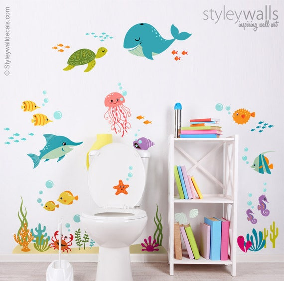 Under The Sea Wall Decal Kids Bathroom Wall Decal Fishes Etsy