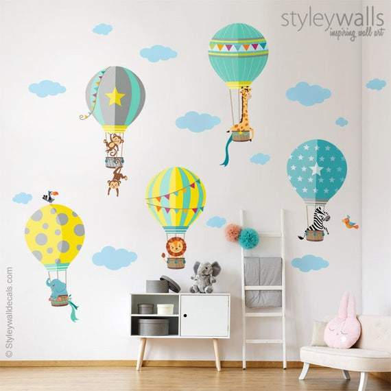 Air Balloons Wall Decal Hot Air Balloons Wall Sticker Jungle Etsy