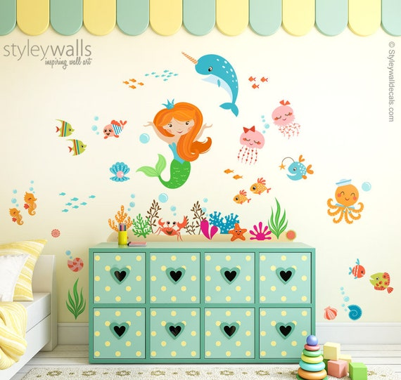 Mermaid Wall Decal Under The Sea Wall Decal Mermaid And Etsy
