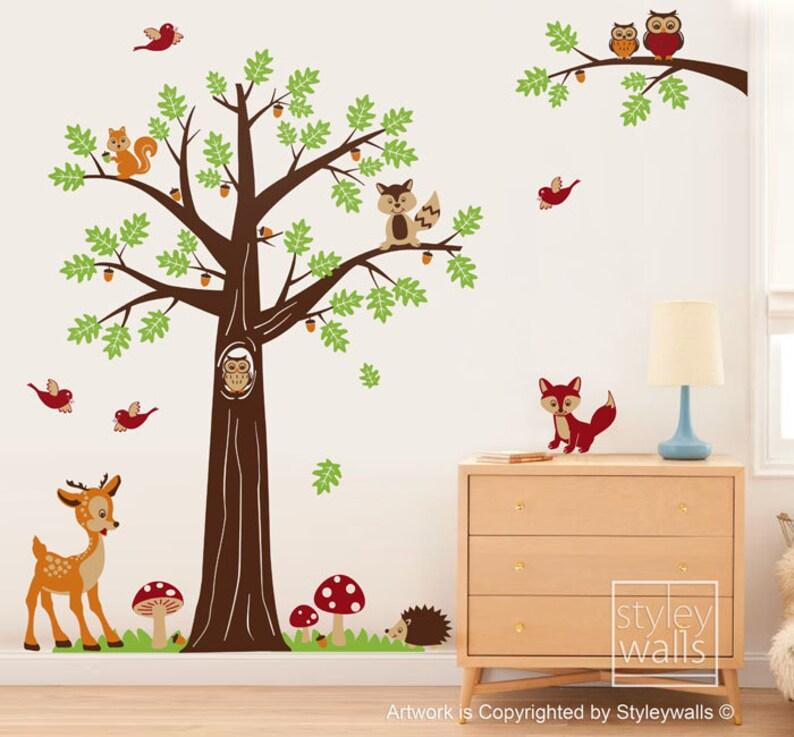 woodland tree animals wall decal forest animals nursery wall | etsy