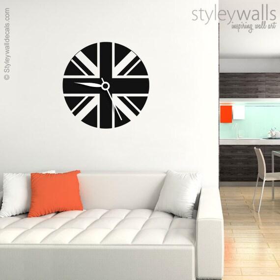 Britische Flagge Uhr Moderne Uhr Wandtattoo Uhr Wand Etsy