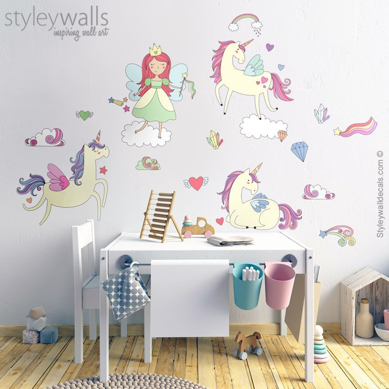 unicorns wall decal fairy wall decal unicorn wall sticker | etsy