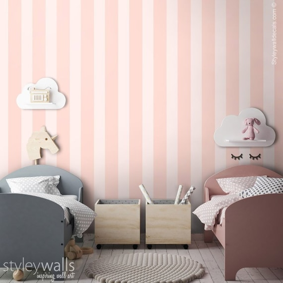 Pink Stripes Wallpaper Vertical Striped Pattern Wallpaper Repositionable Removable Fabric Kids Room Decor Peel And Stick Self Adhesive