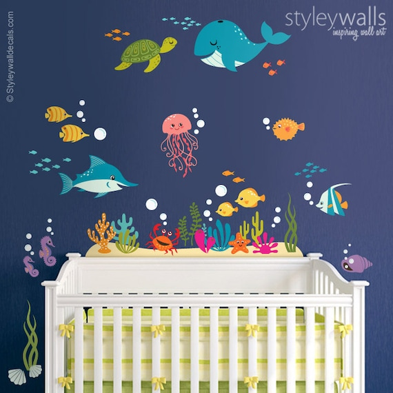 Under The Sea Wall Decal Fishes Wall Decal Ocean Wall Etsy