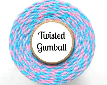 Pink and Aqua Blue Trendy Bakers Twine - Twisted Gumball - Packaging, Decorating, Baking, Treats, Favors, Crafting - Cotton String