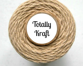 Solid Kraft Bakers Twine by Trendy Twine - Totally Kraft - Light Brown, Tan, Flax, Rustic, Craft, Packaging, Cotton String