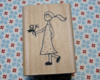 Flower Girl, Girl with Flowers- A Muse Rubber Stamp