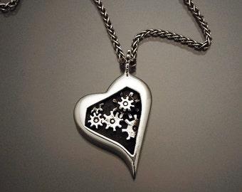 Sterling Silver Gear Heart Pendant