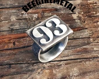 Sterling 93 LETTERPRESS Ring (rustic)