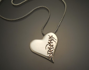 Sterling Silver Stitched Heart Pendant