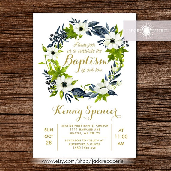 LDS Baptism Invite Anemone Wreath Invitation Printable Green Blue Elegant Jadorepaperie