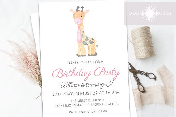 birthday invitation giraffe birthday invite zoo invite 1st etsy
